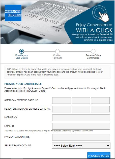 Amex pay bill process using paidkiya