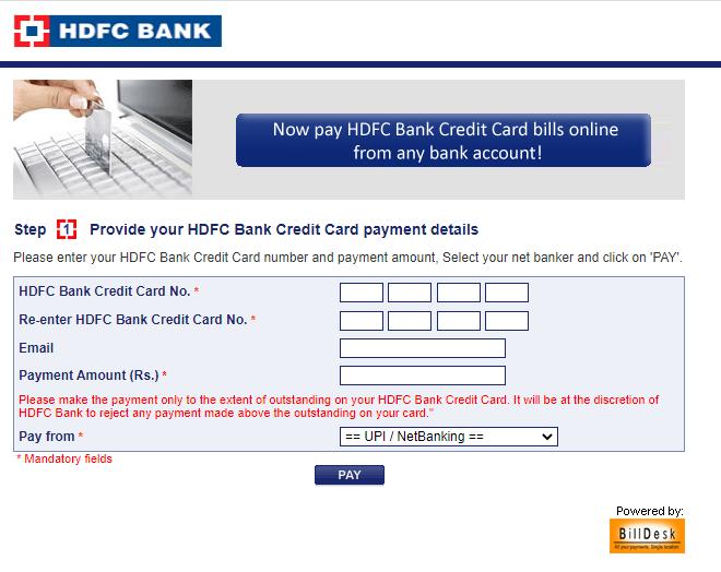 HDFC billdesk using paidkiya