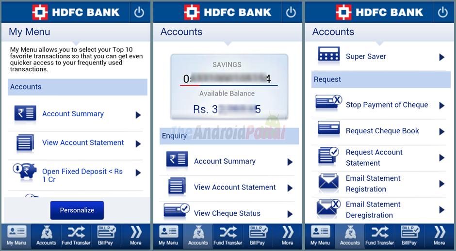 HDFC Mobile banking using paidkiya